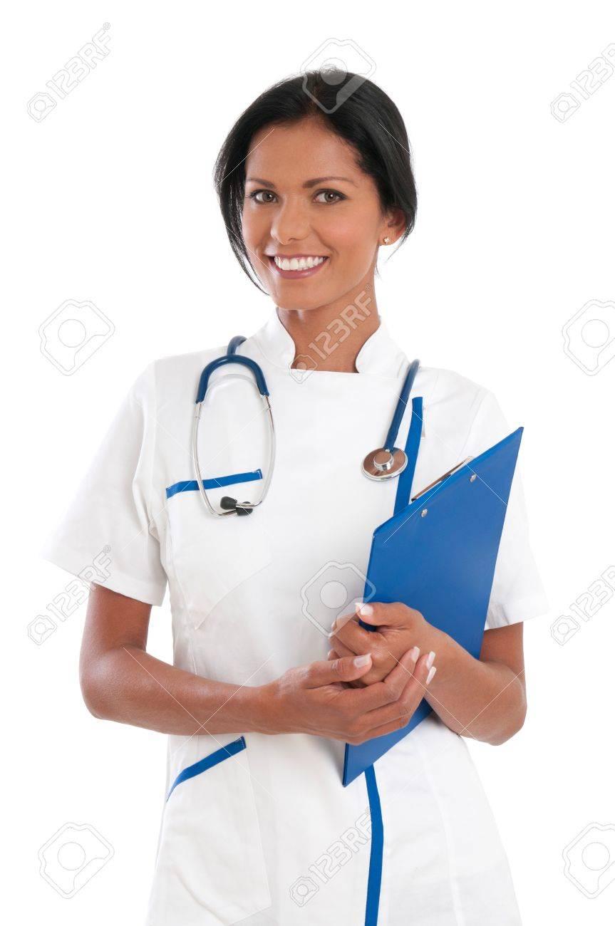 Smiling latin nurse holding clipboard isolated on white background Stock Photo - 16126483
