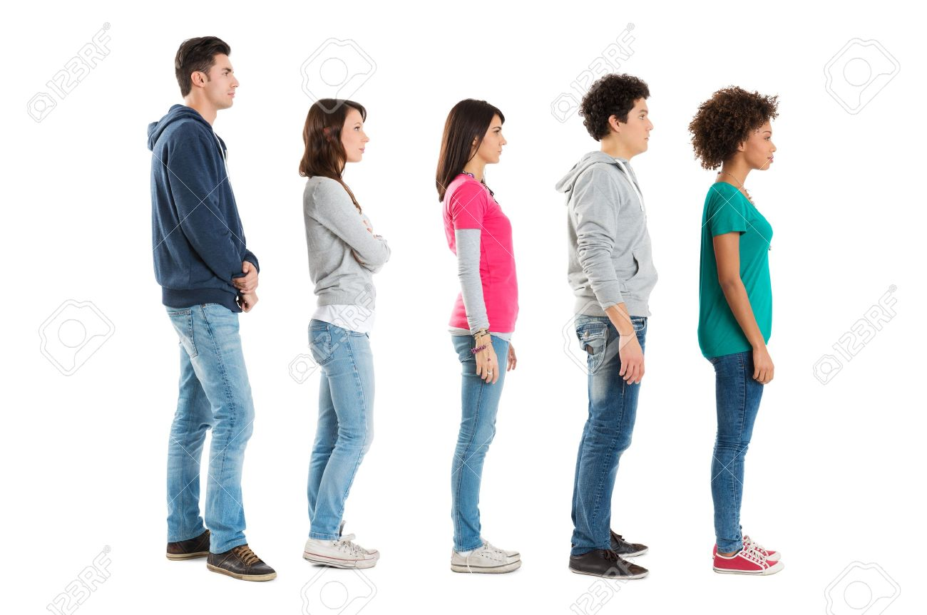 Multi Ethnic People Standing In A Row Isolated On White Background Stock Photo - 18325444
