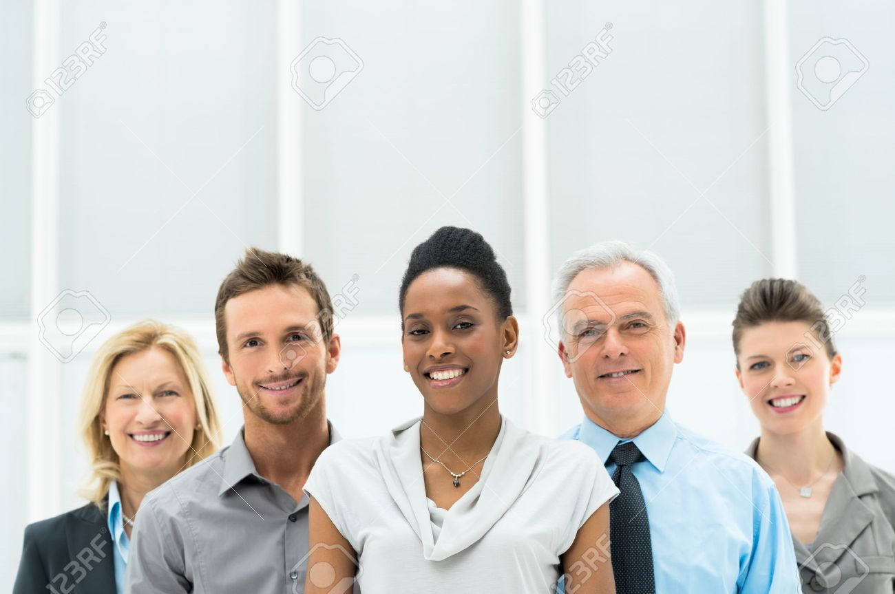 Smiling multi ethnic business team with copy space Stock Photo - 19251480