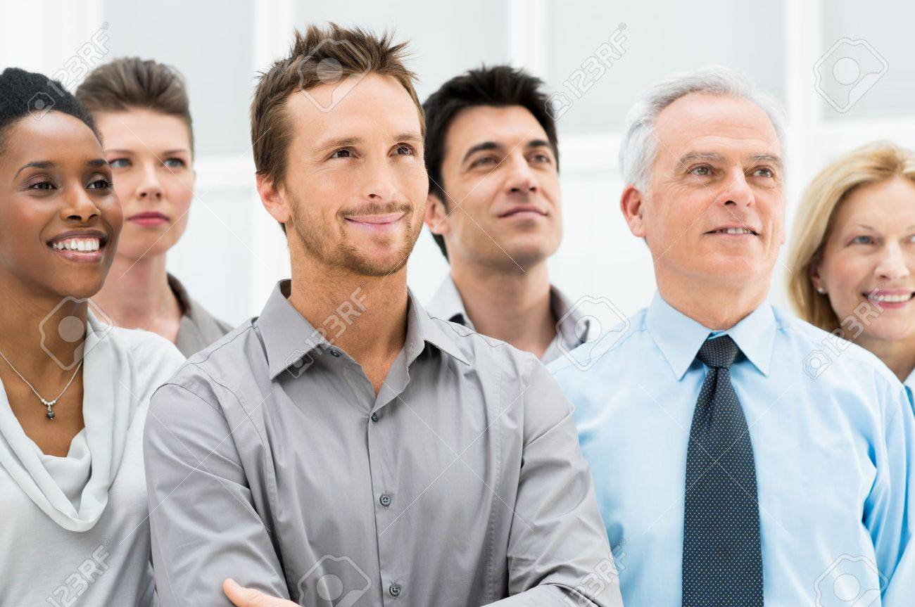 Successful Business People Standing Together and Looking at Their Bright Future Stock Photo - 19339642