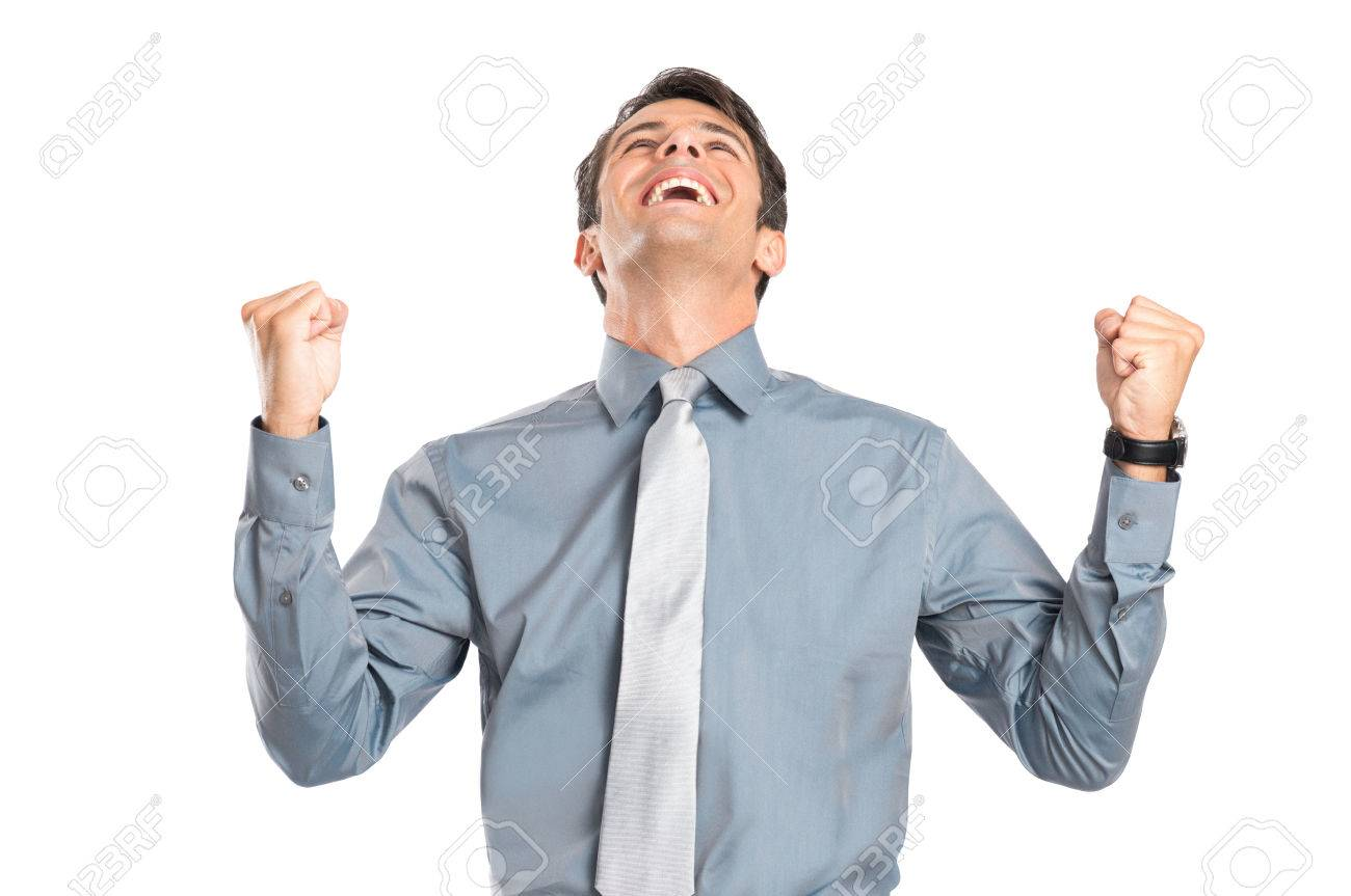 Portrait Of Excited Businessman With Clenched Fist Isolated On White Background Stock Photo - 22583686