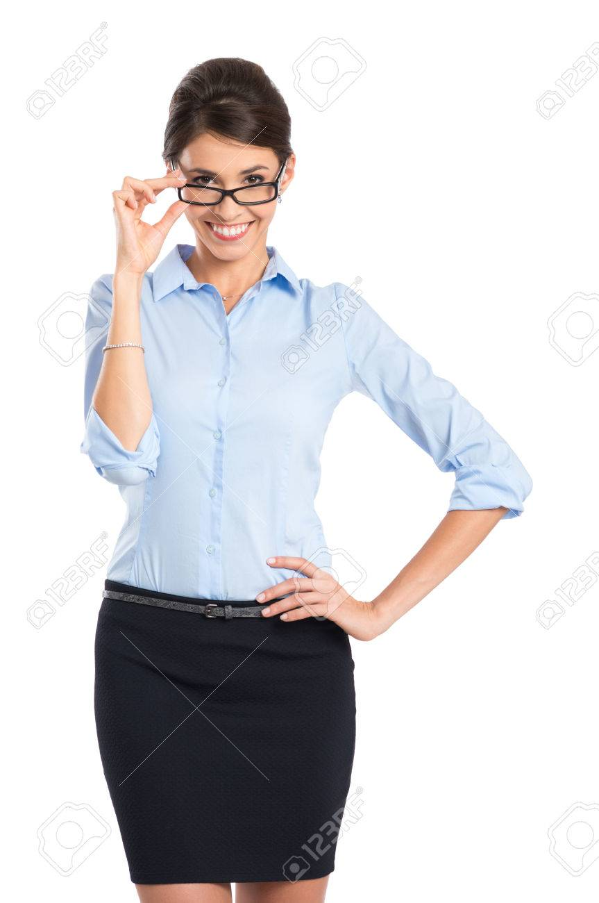 Portrait Of Happy Young Secretary Wearing Eyeglasses Isolated On White Background Stock Photo - 22583708