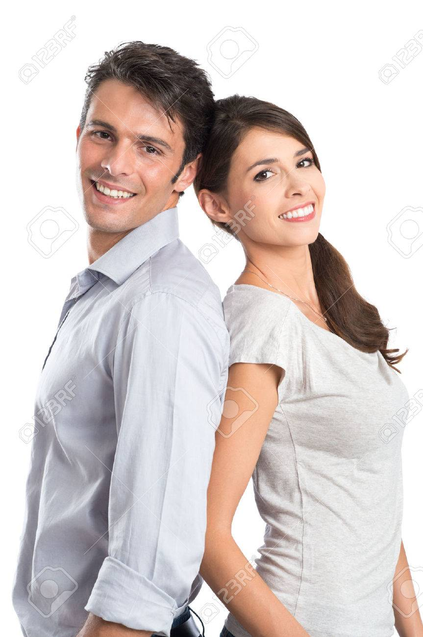 Happy Young Couple Isolated Over White Background Stock Photo - 22583722