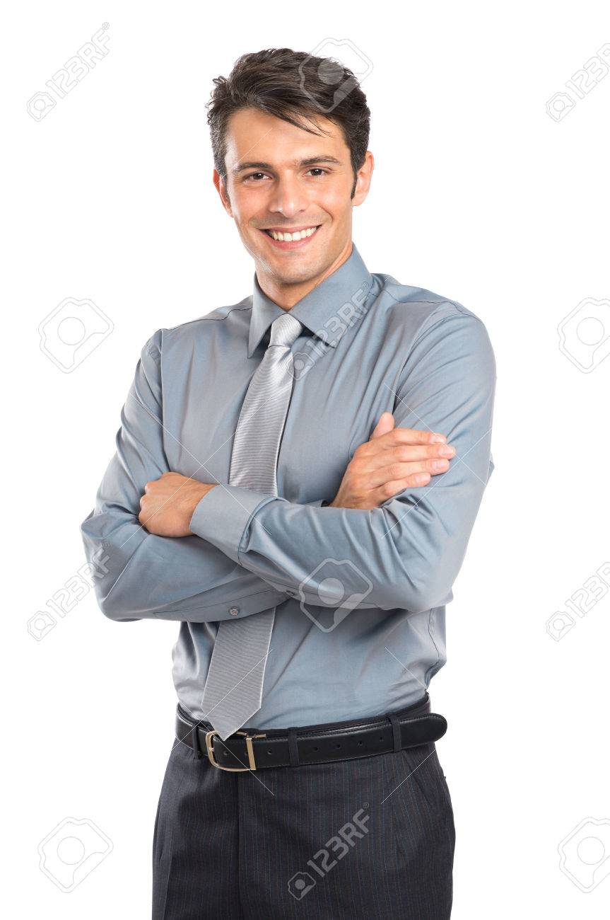 Portrait Of Happy Young Businessman With Arm Crossed Isolated On White Background Stock Photo - 22583764