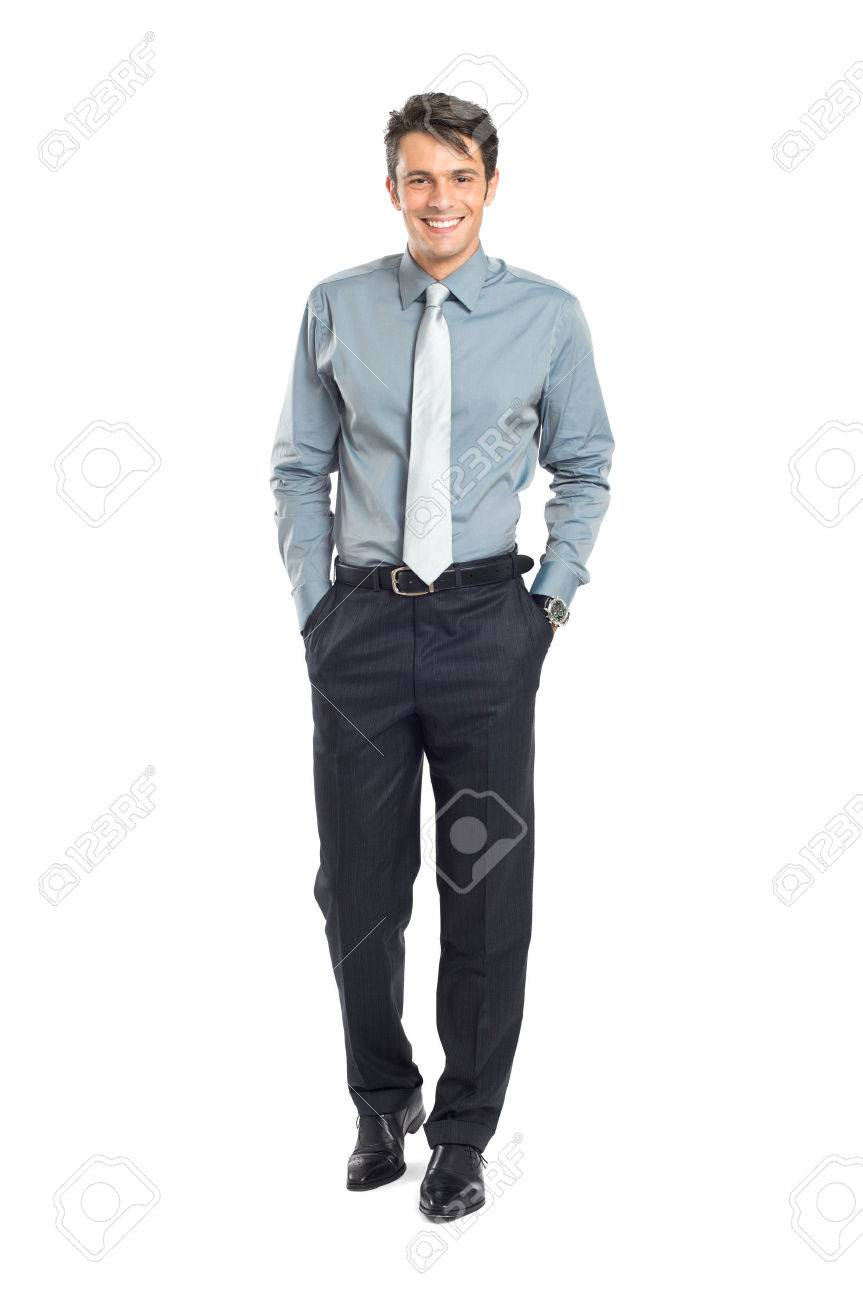 Confident Businessman With Hand In Pocket Isolated On White Background Stock Photo - 22583765