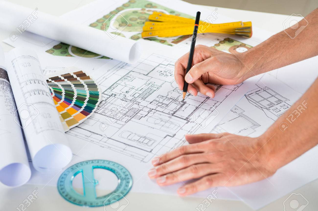Interesting Architectural Drawing Blueprint Vector Background Part