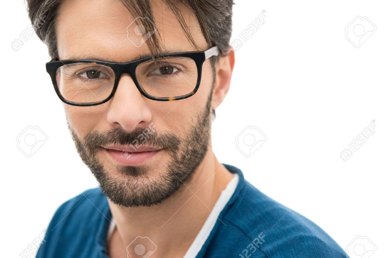 4b5cdb500b7 Closeup of smiling young man wearing eyeglasses Stock Photo - 38774735