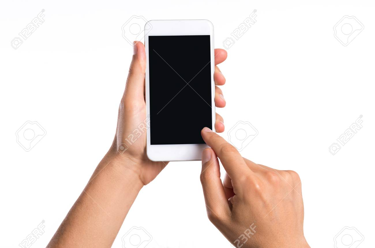 Immagini Stock Primo Piano Della Mano Di Uomo Che Tiene Smartphone