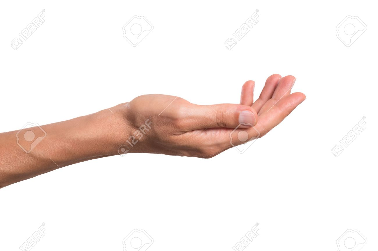 Stretched hand of man isolated over white background. Open palm hand gesture of man hand. Close up of open palm isolated over white background. Banque d'images - 64702119