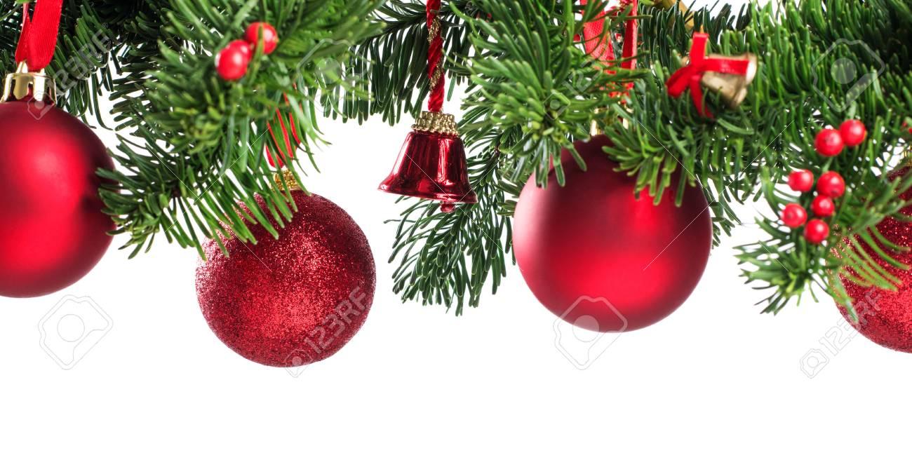 Tannenzweige Bilder Nahaufnahme Von Weihnachten Roten Kugeln Auf Tannenzweig Mit Kopie