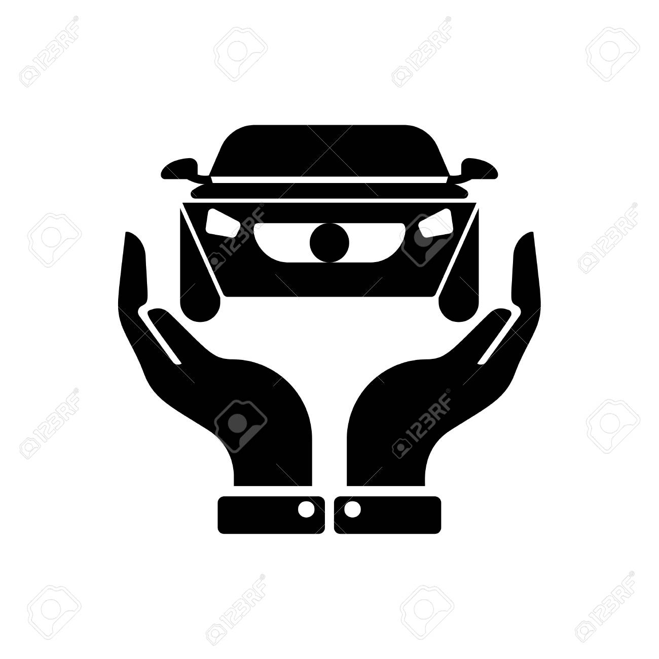 Hands Holding Car Auto Insurance Icon Vector Black Royalty Free