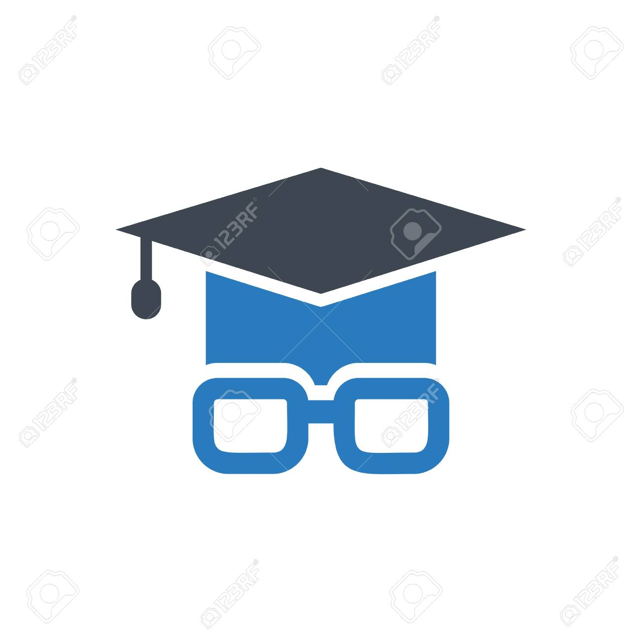 25d9e6fbbb94 Icon graduation cap and glasses - the concept of education vector blue  Stock Vector - 110117977
