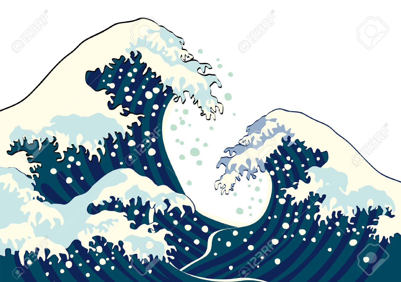 The wave of a Japanese painting - 39091205