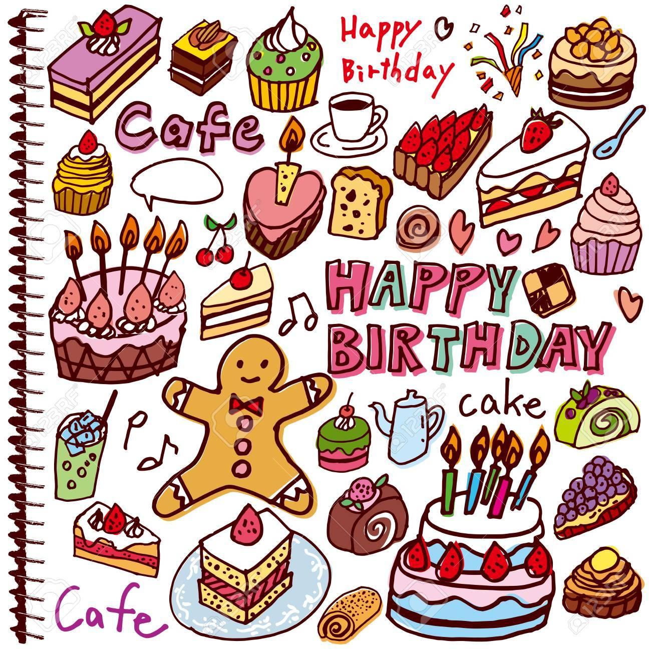 ケーキのイラストのかわいい手書きの