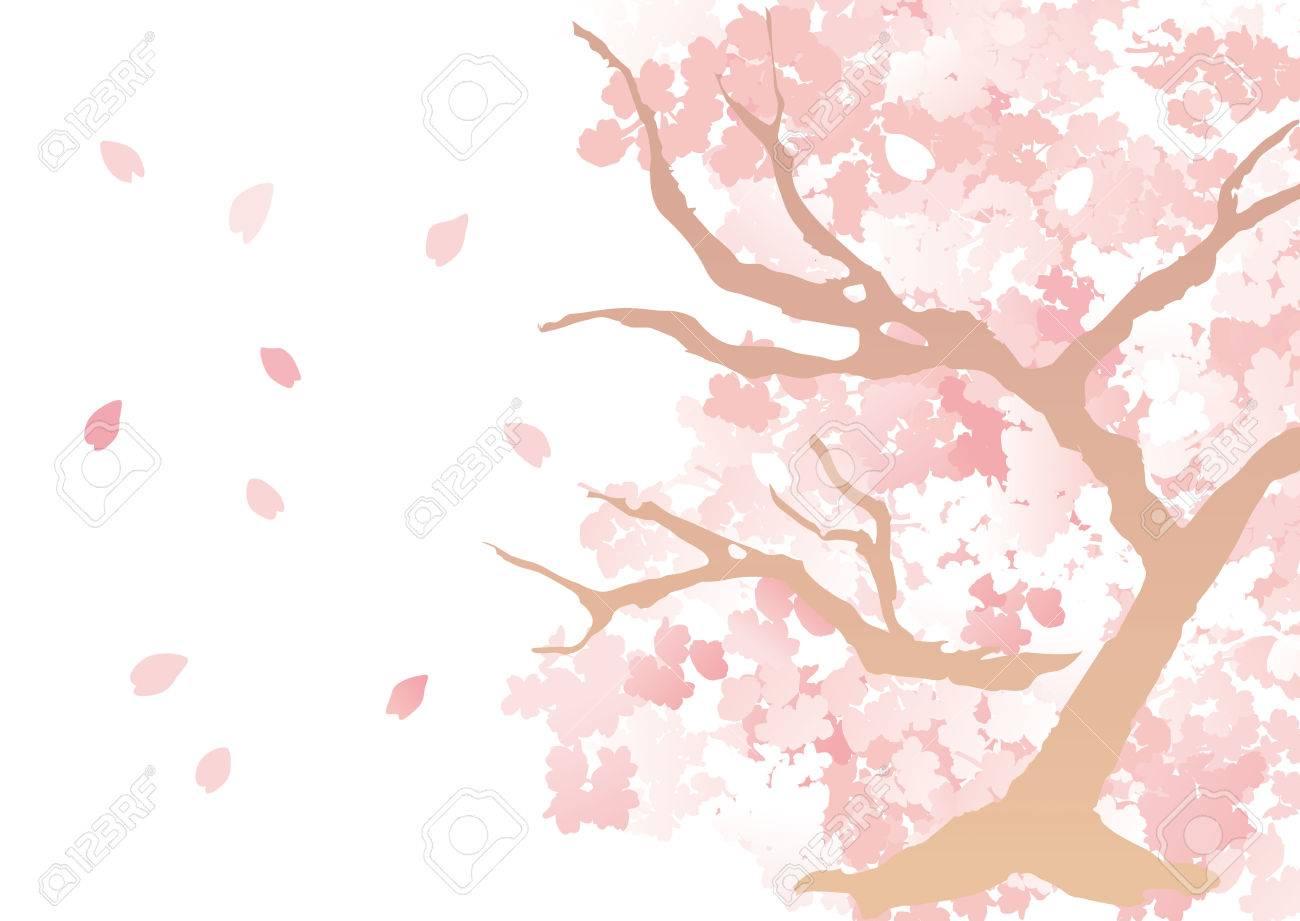 美しい桜の木のイラストのイラスト素材ベクタ Image 73481141