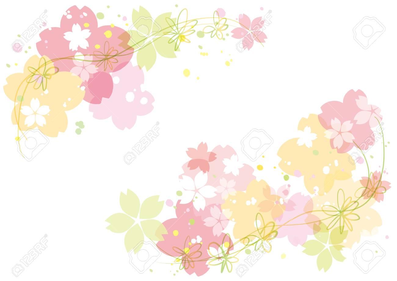 Cherry blossoms or sakura flowers border design. Vector illustration. - 95458158