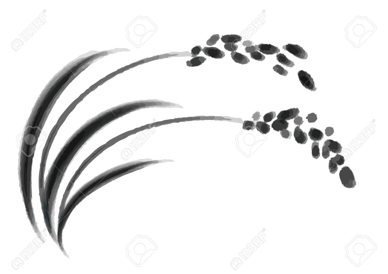 Illustration of rice and rice marks - 129903896