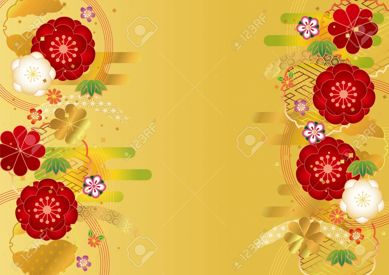 Japanese pattern background material for Japanese plum - 130316057