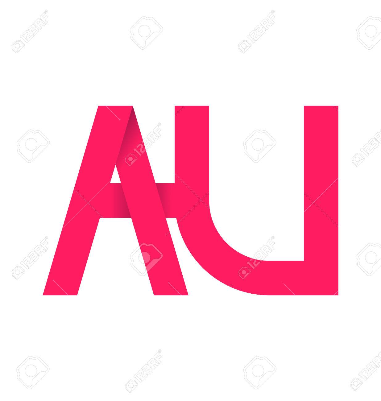 Au のアルファベット Composistion のロゴまたは署名のイラスト素材