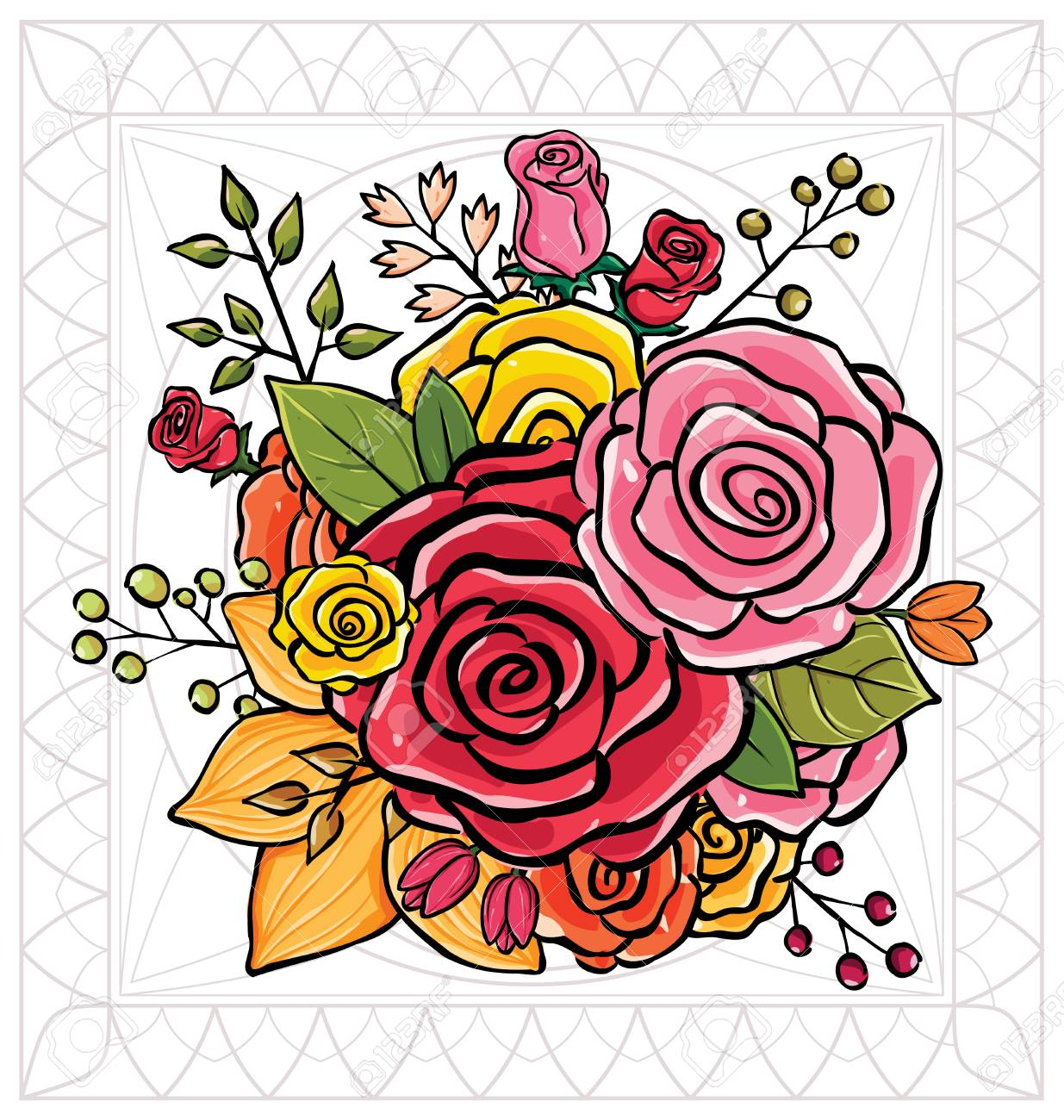 Colorful Flower Bouquet Vector Illustration Best Choice For Classic