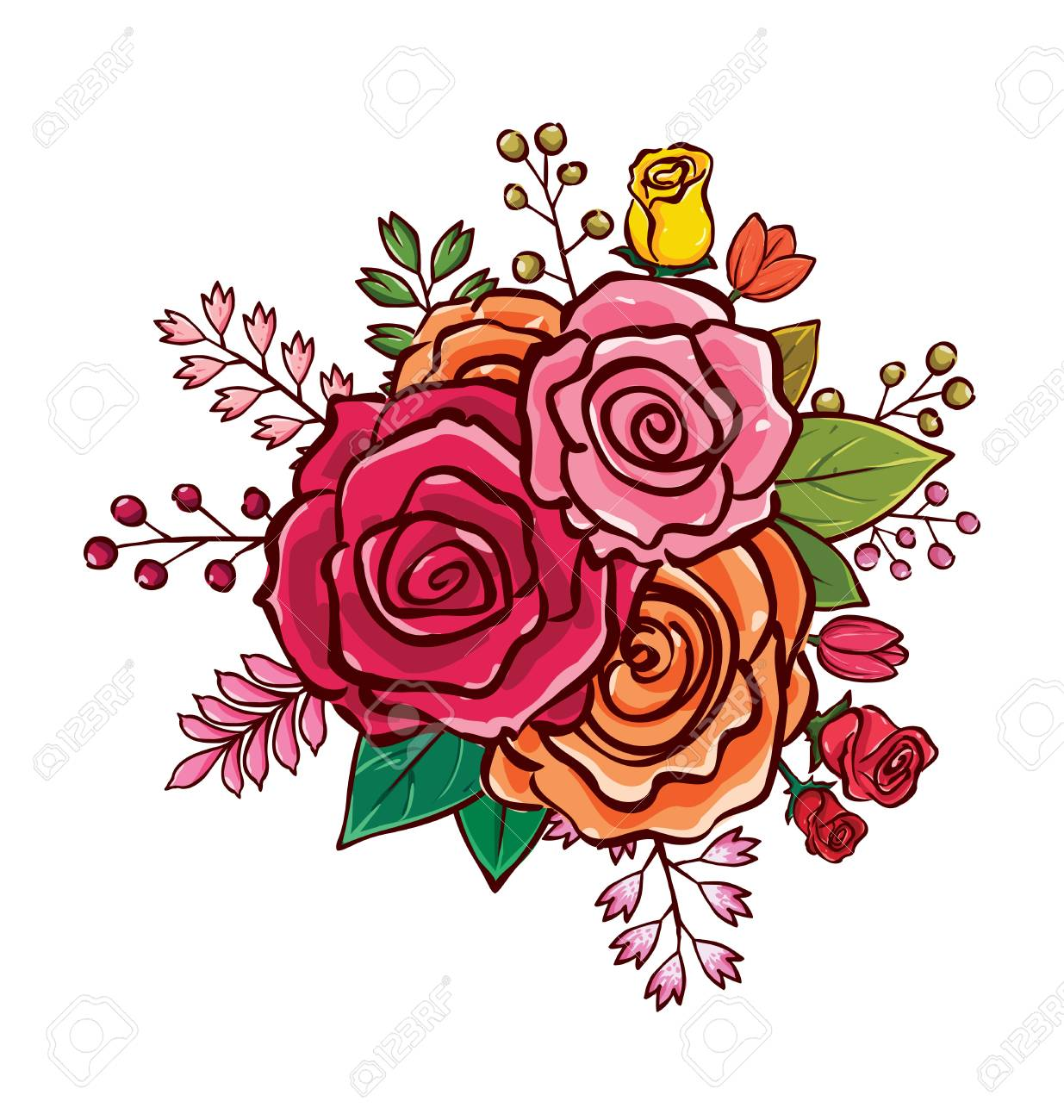 Colorful Flower Bouquet Vector Illustration, Best Choice For ...