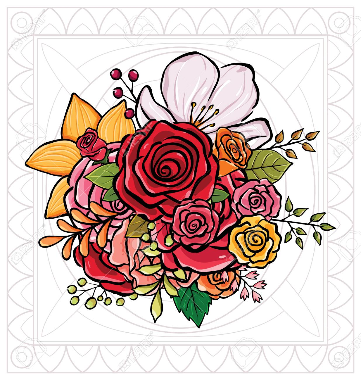 Colorful Flower Bouquet Vector Illustration Best Choice For