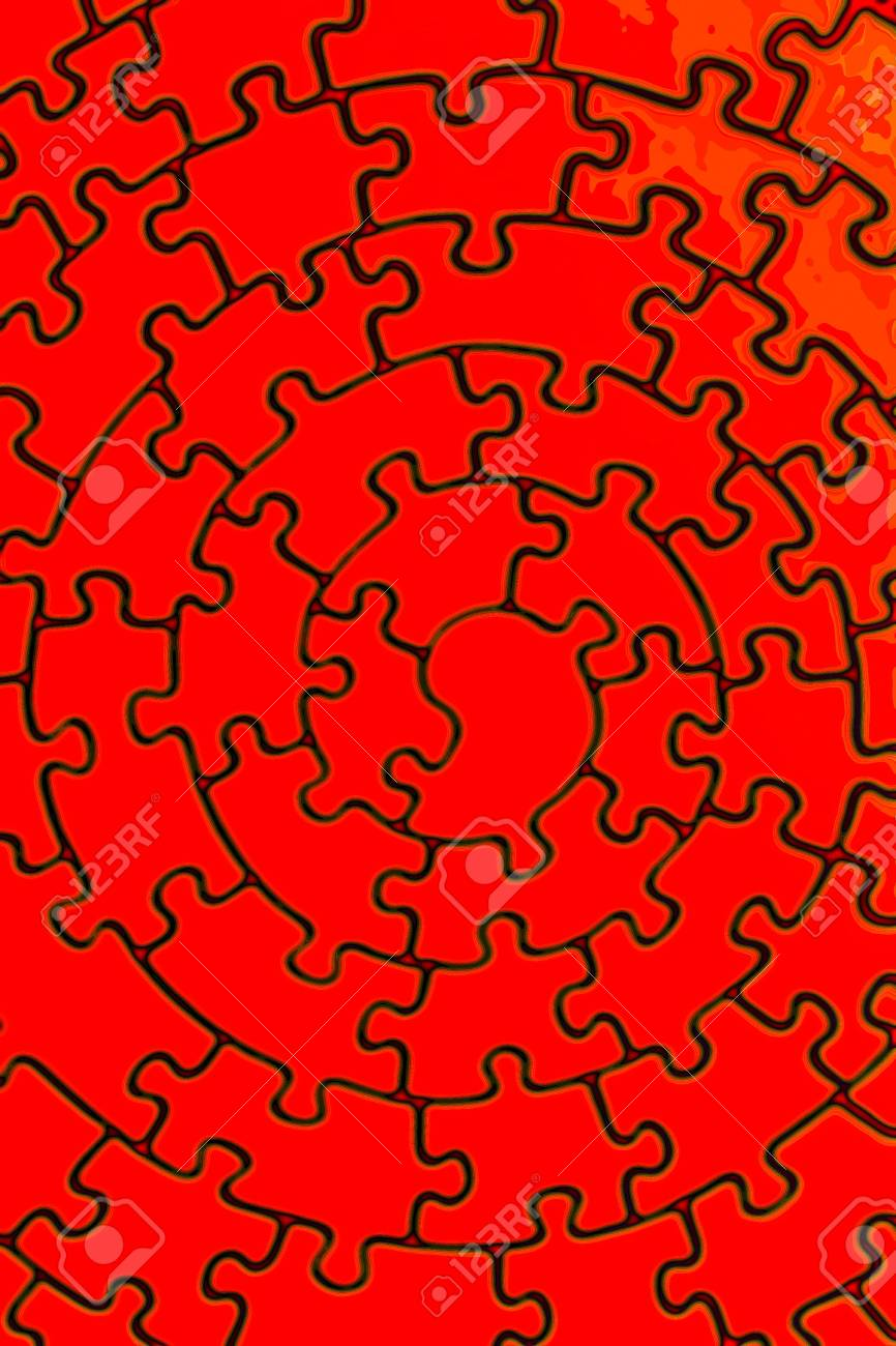 complete jigsaw in red - pieces fitting together in form of a spiral Stock Photo - 1807726