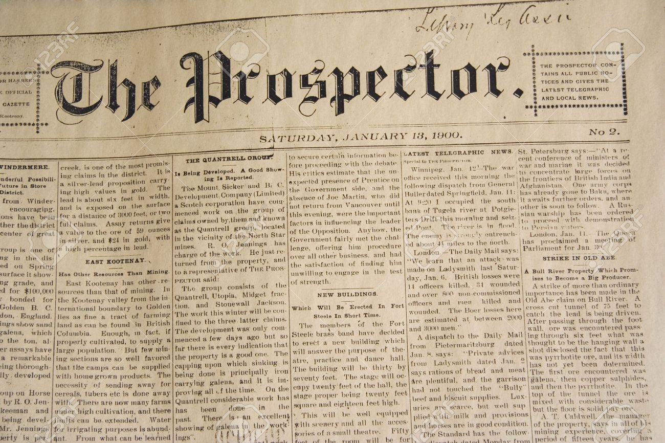 antique daily newspaper  -  from january, 13, 1900 Stock Photo - 1906176