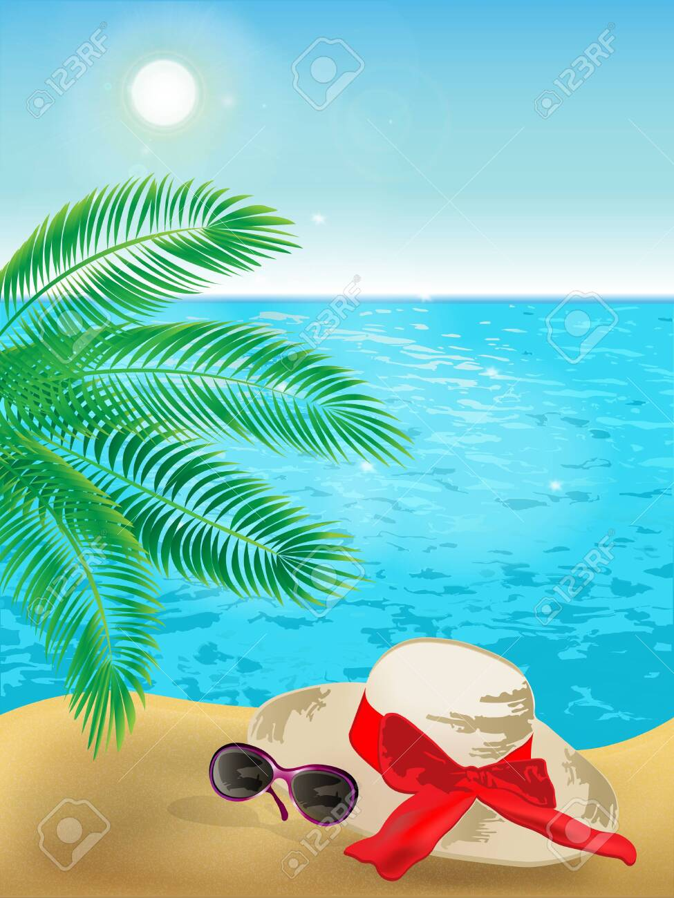 Summer background of sunny beach with palm tree, sunglasses, hat and blue sea. - 153551529