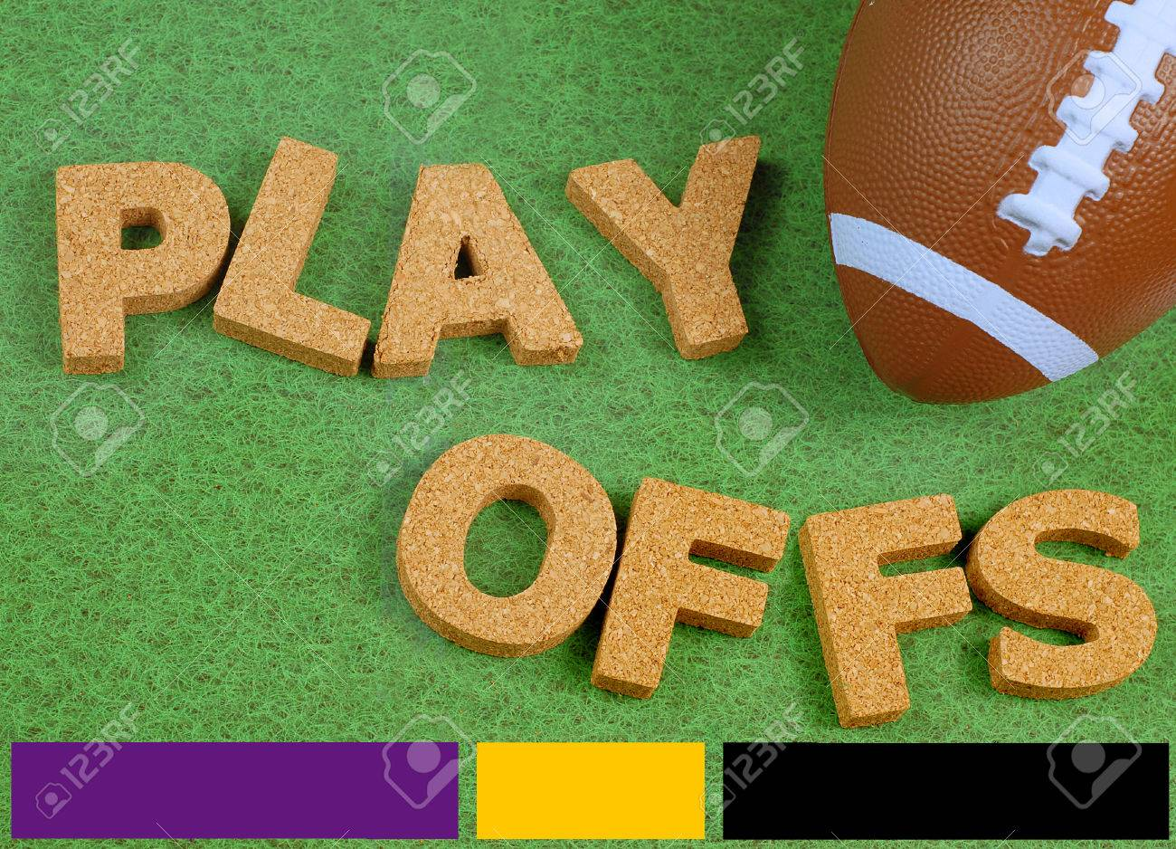 Toy Football On Grass Background With Black Purple And Gold Color ...