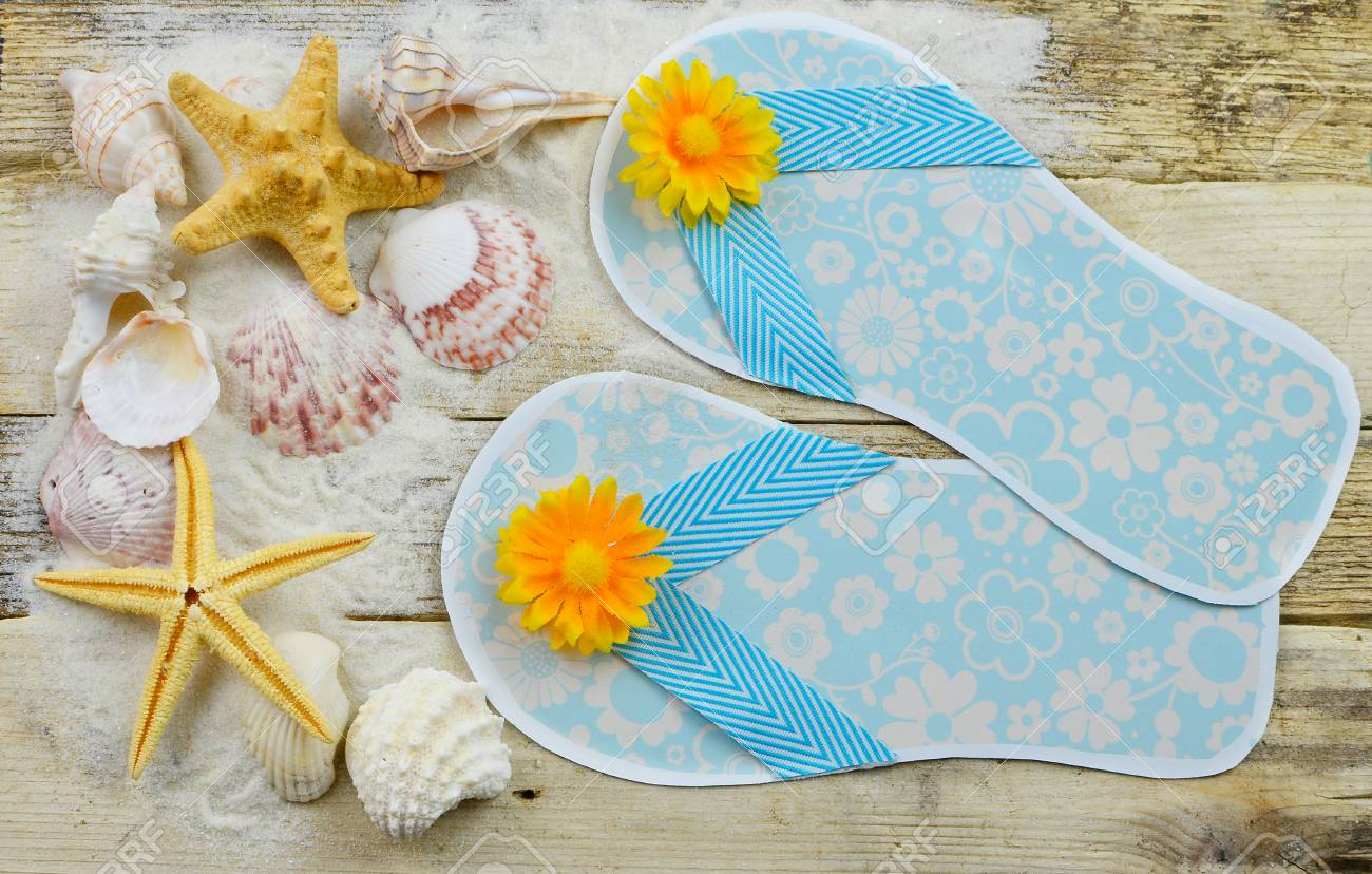 Cute Paper Craft Flip Flops That Are Ocean Blue With Sunny Silk Stock Photo Picture And Royalty Free Image Image 80452151
