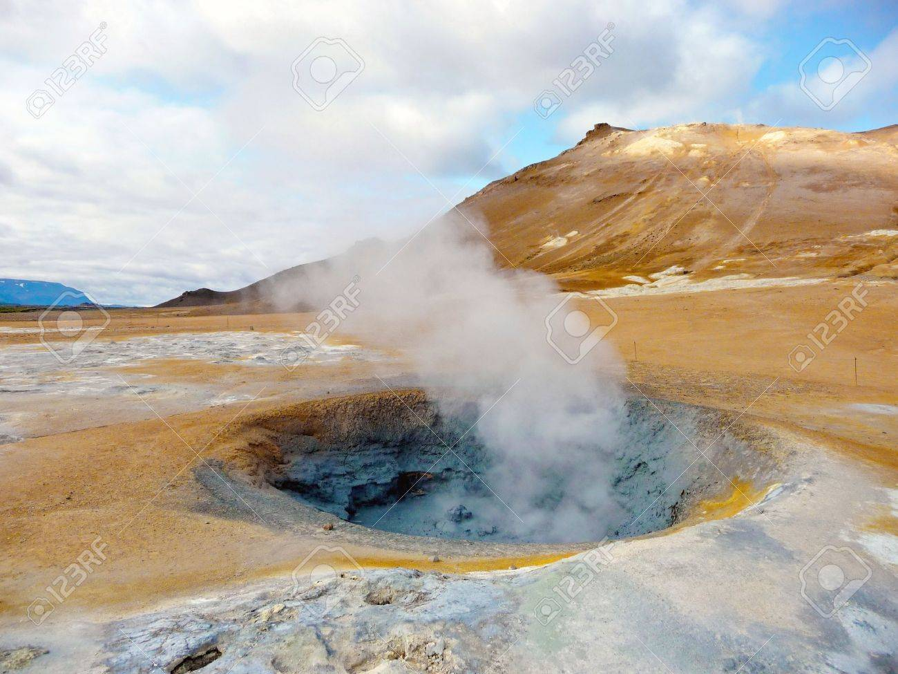 Active geothermal fumarole in Iceland in summer time Stock Photo - 11317982