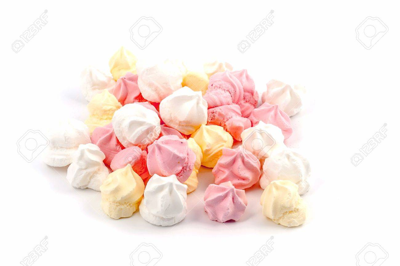 pink, yellow and white meringue Isolated on white background Stock Photo - 13057177
