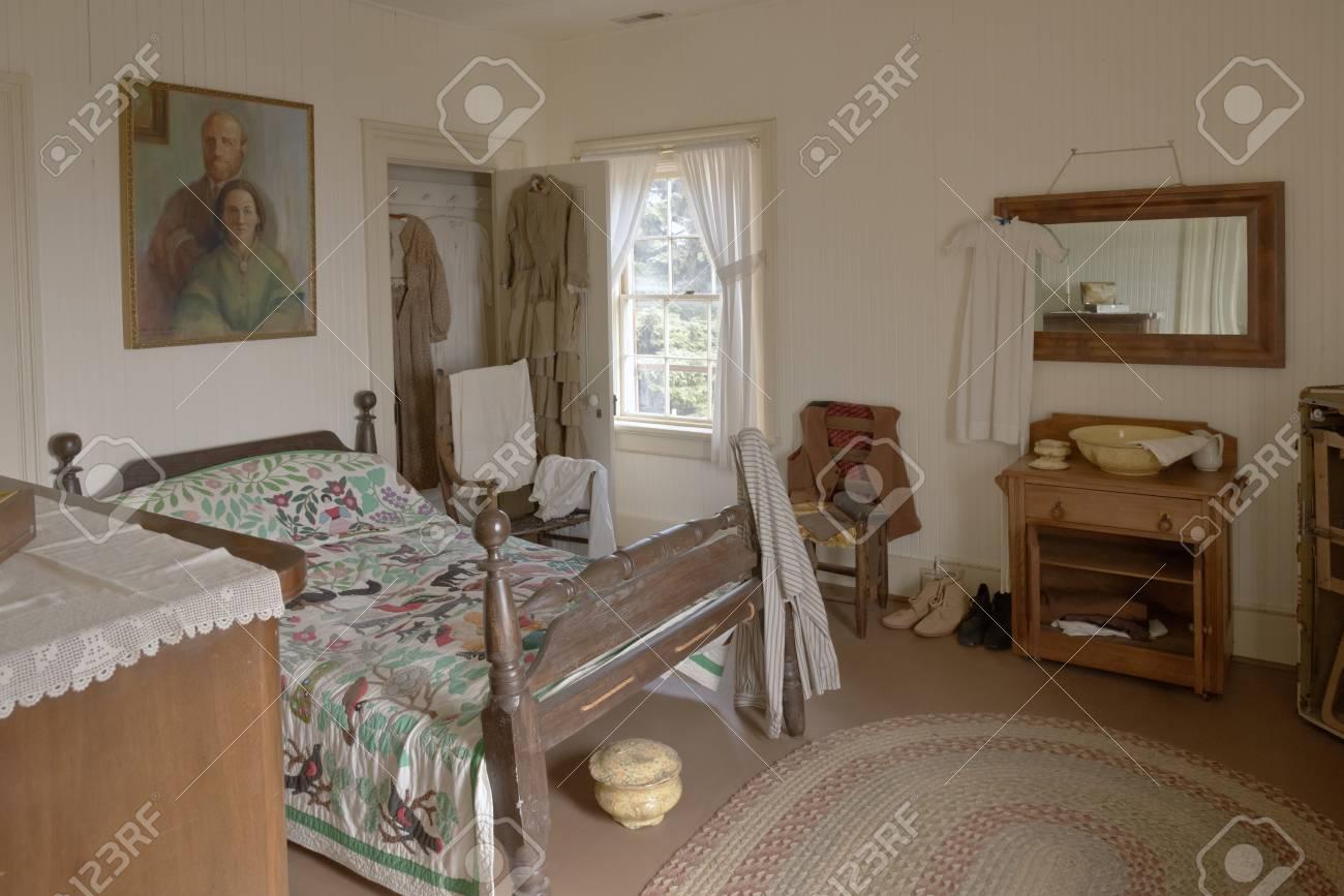 Camera da letto antica di ieri Yaquina lighthouse museum Newport OR.