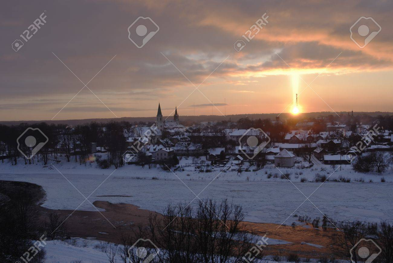 Aoptical Phenomenon By Sunset Light Pillar Sun Pillar Or Solar