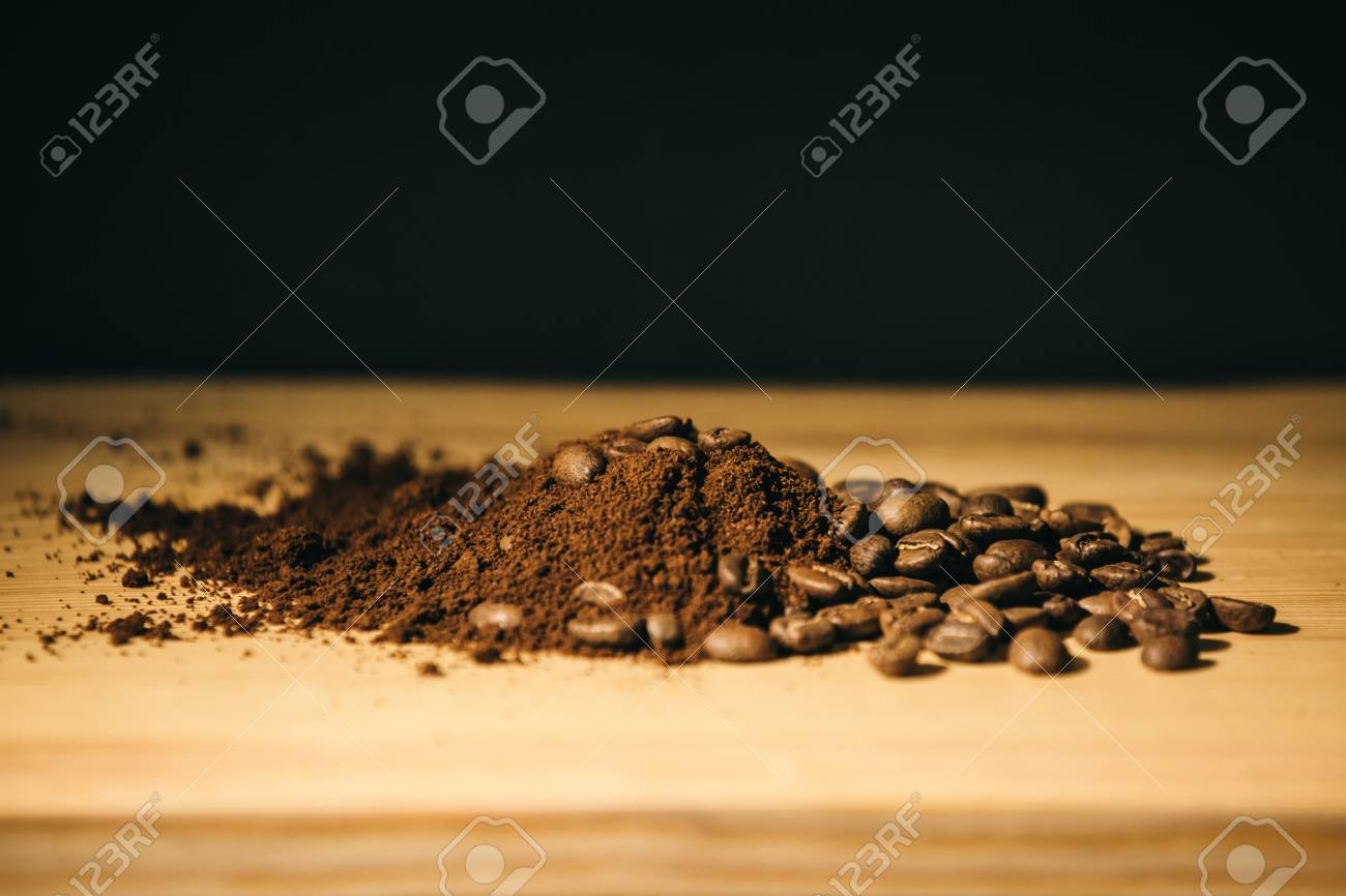 brown coffee grounds, located as a background - 99746766