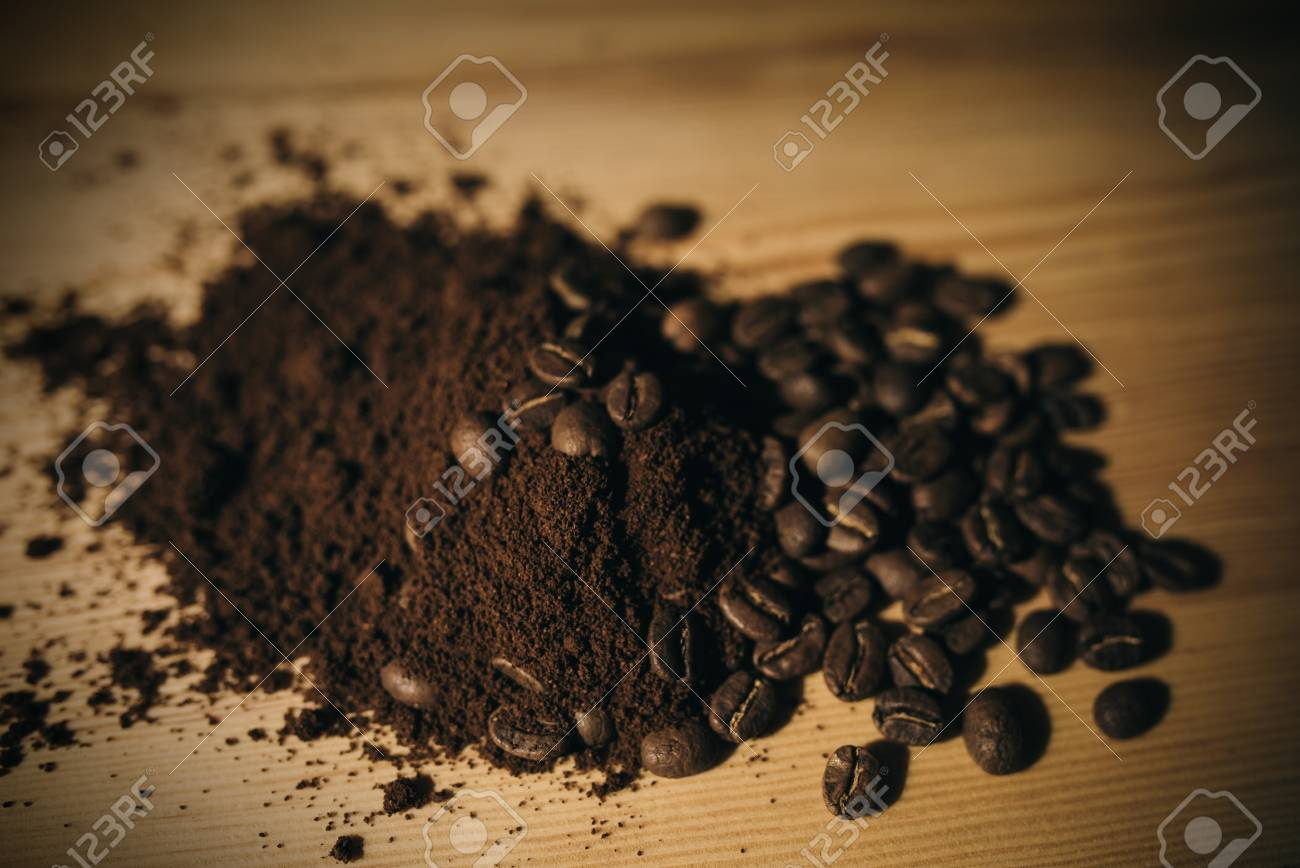 brown coffee grounds, located as a background - 99746776