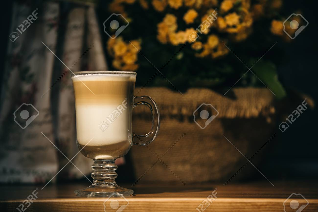 cup of latte or cappuccino coffee - 99832482