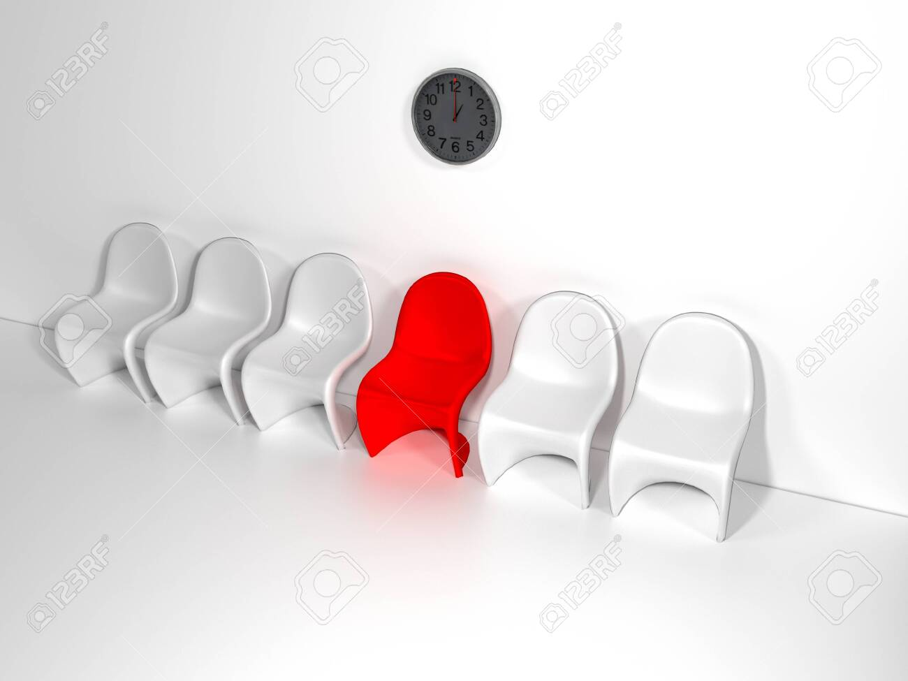 Row of chairs with one odd one out. Job opportunity. Business leadership. recruitment concept. 3D rendering - 118819184