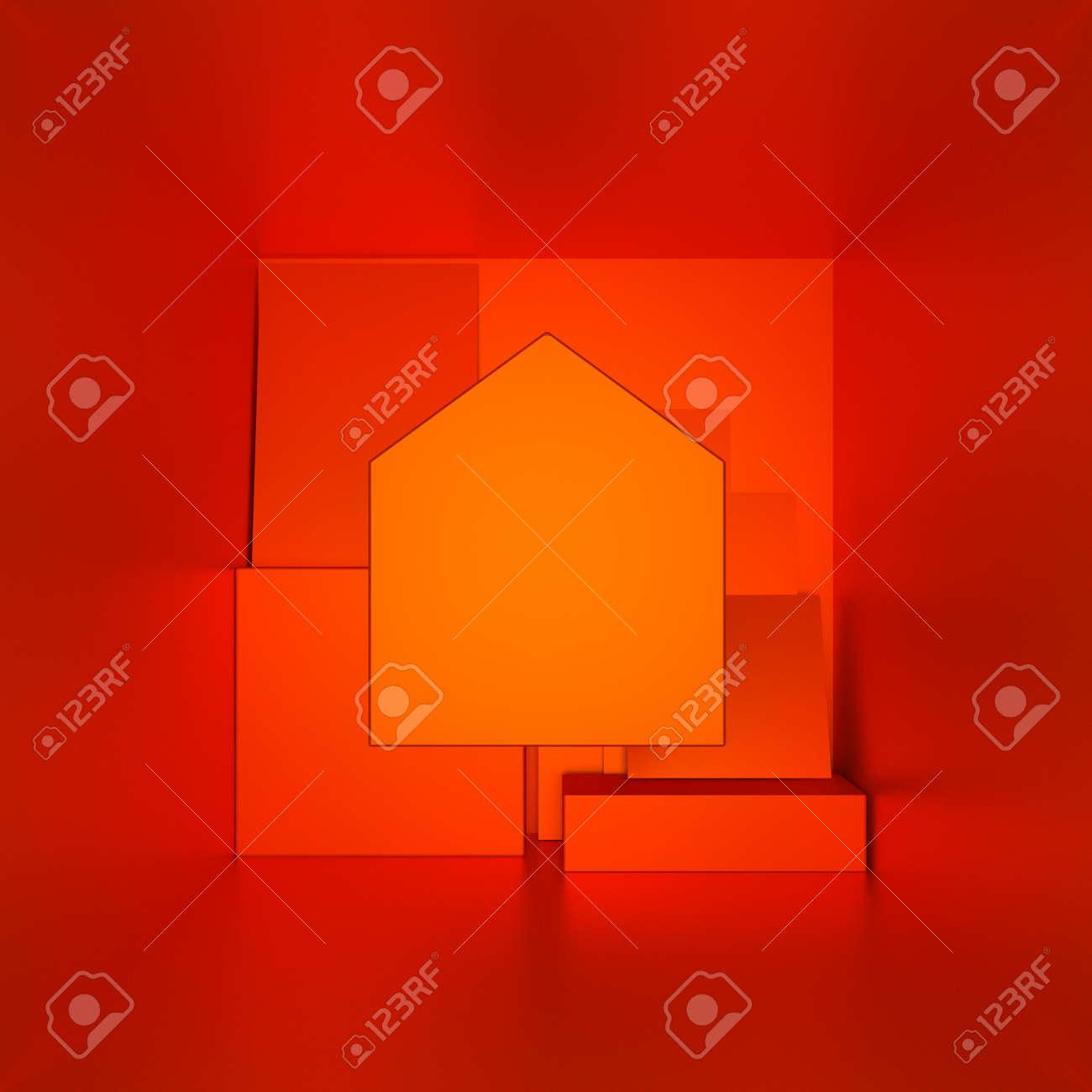 orange houses for real estate property industry, 3d illustration - 157639939