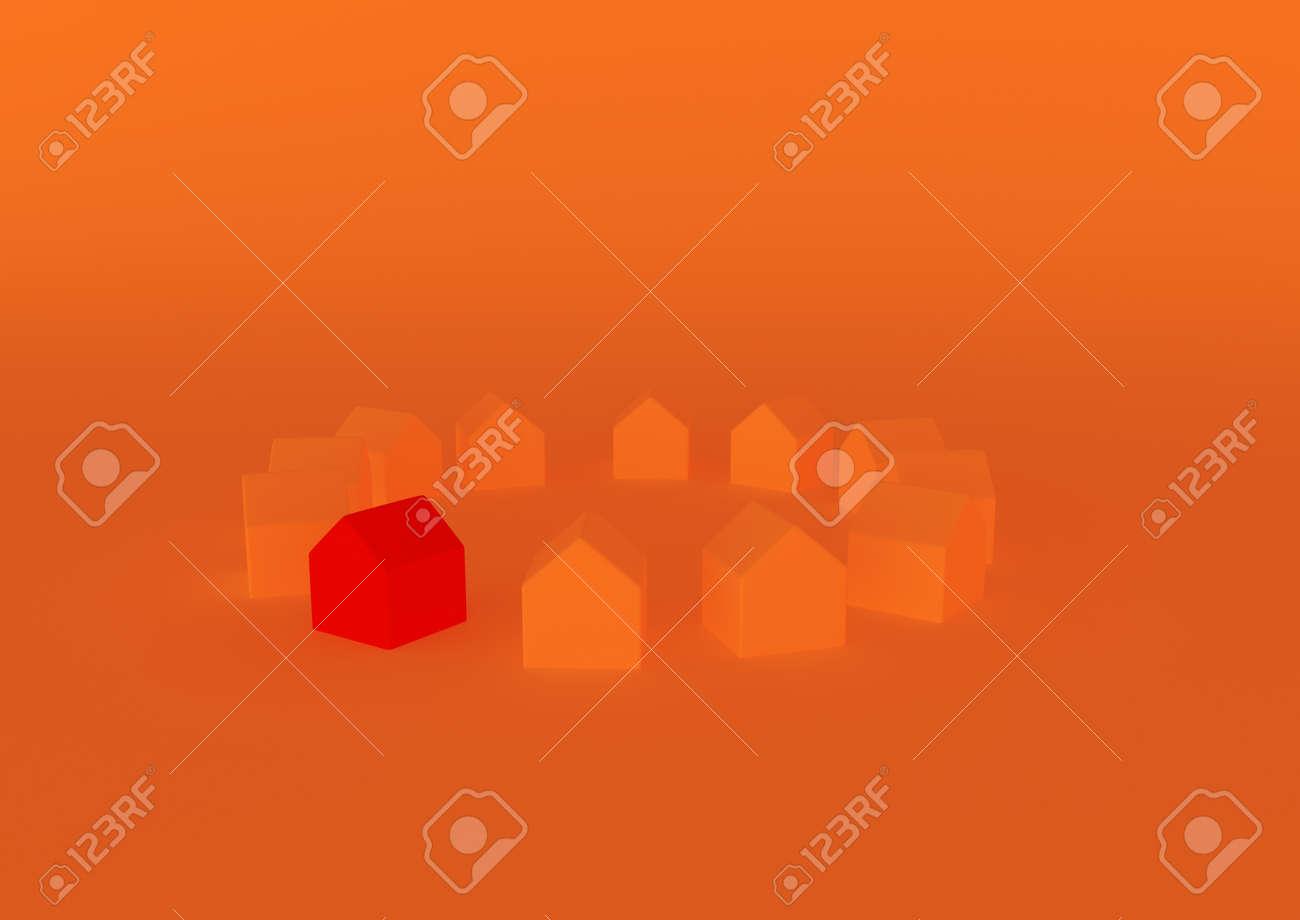 orange houses for real estate property industry, 3d illustration - 157639694