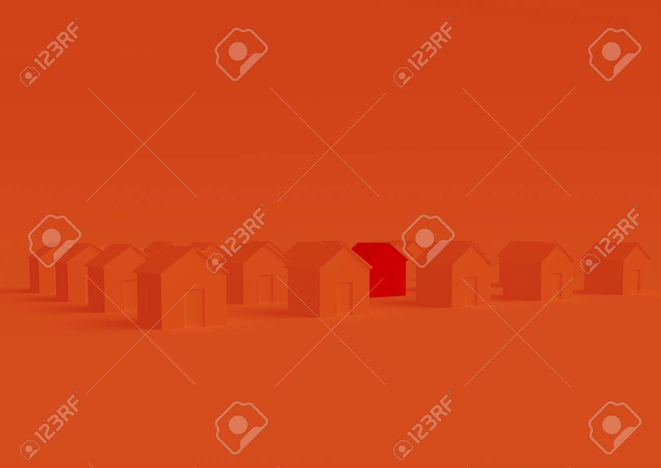 orange houses for real estate property industry, 3d illustration - 157639702