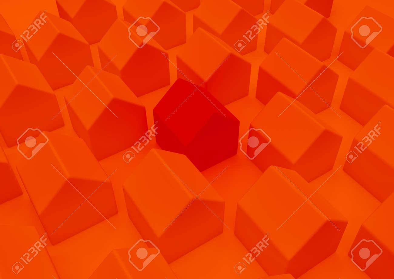 orange houses for real estate property industry, 3d illustration - 157639709
