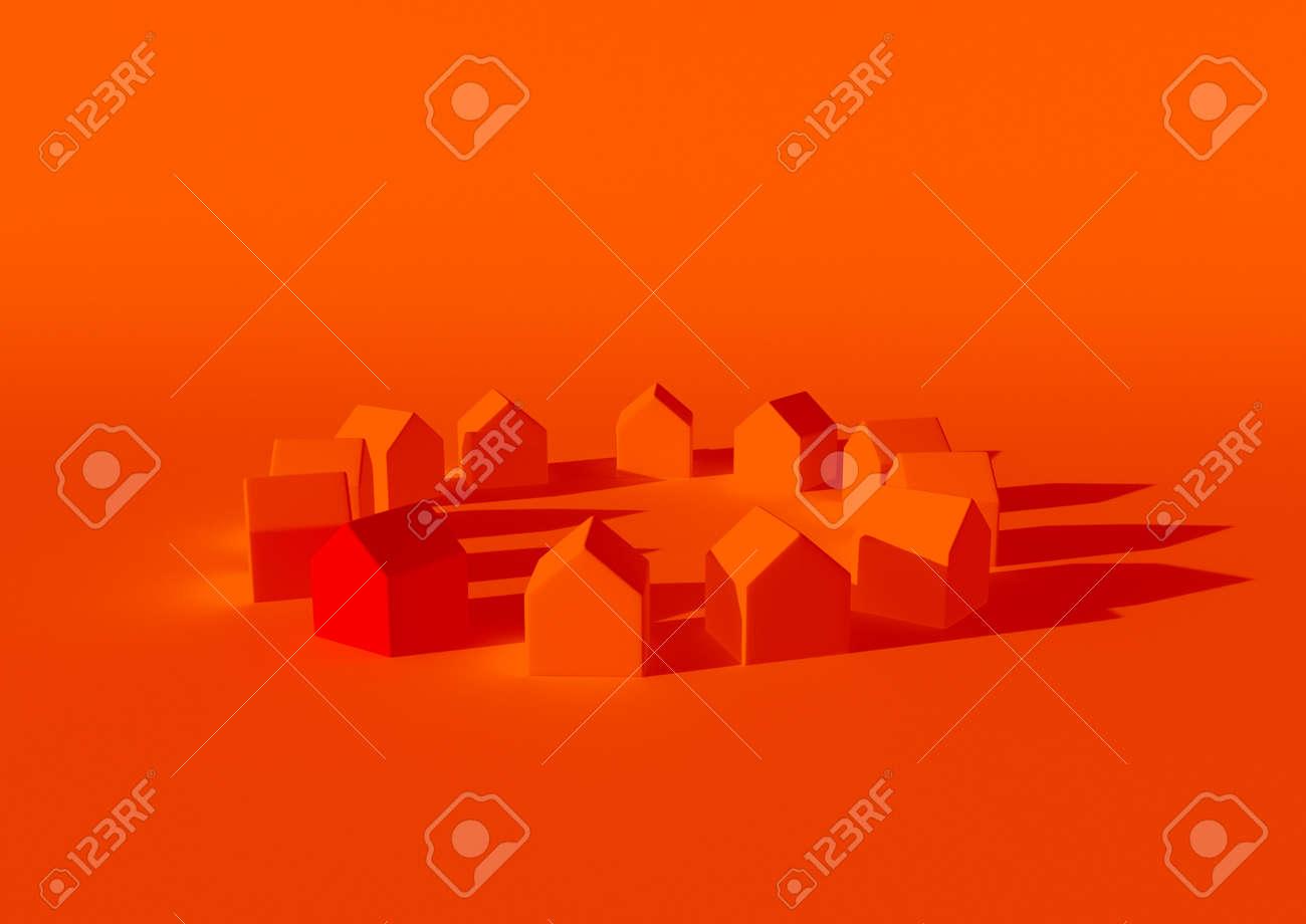 orange houses for real estate property industry, 3d illustration - 157639645