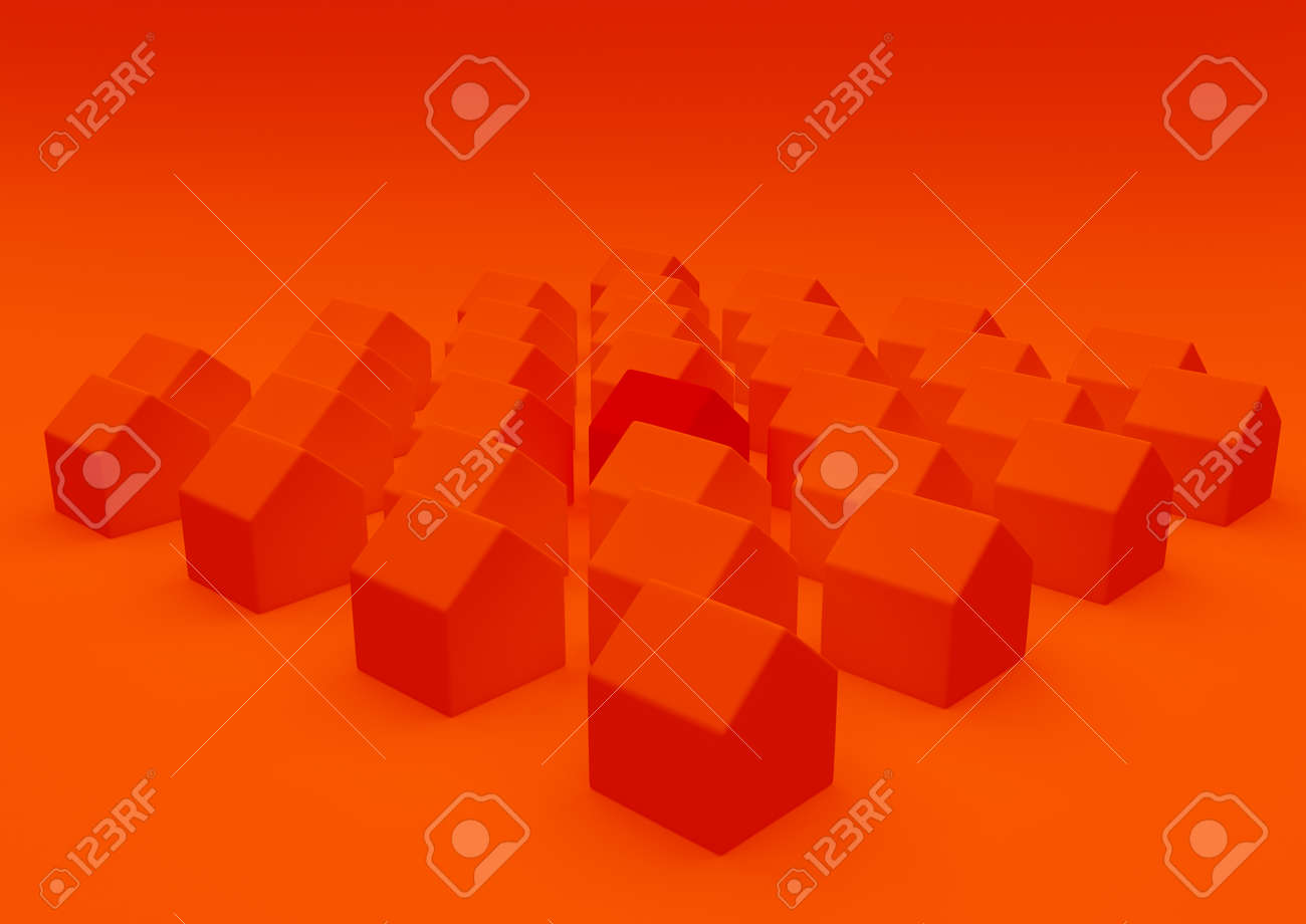 orange houses for real estate property industry, 3d illustration - 157639614