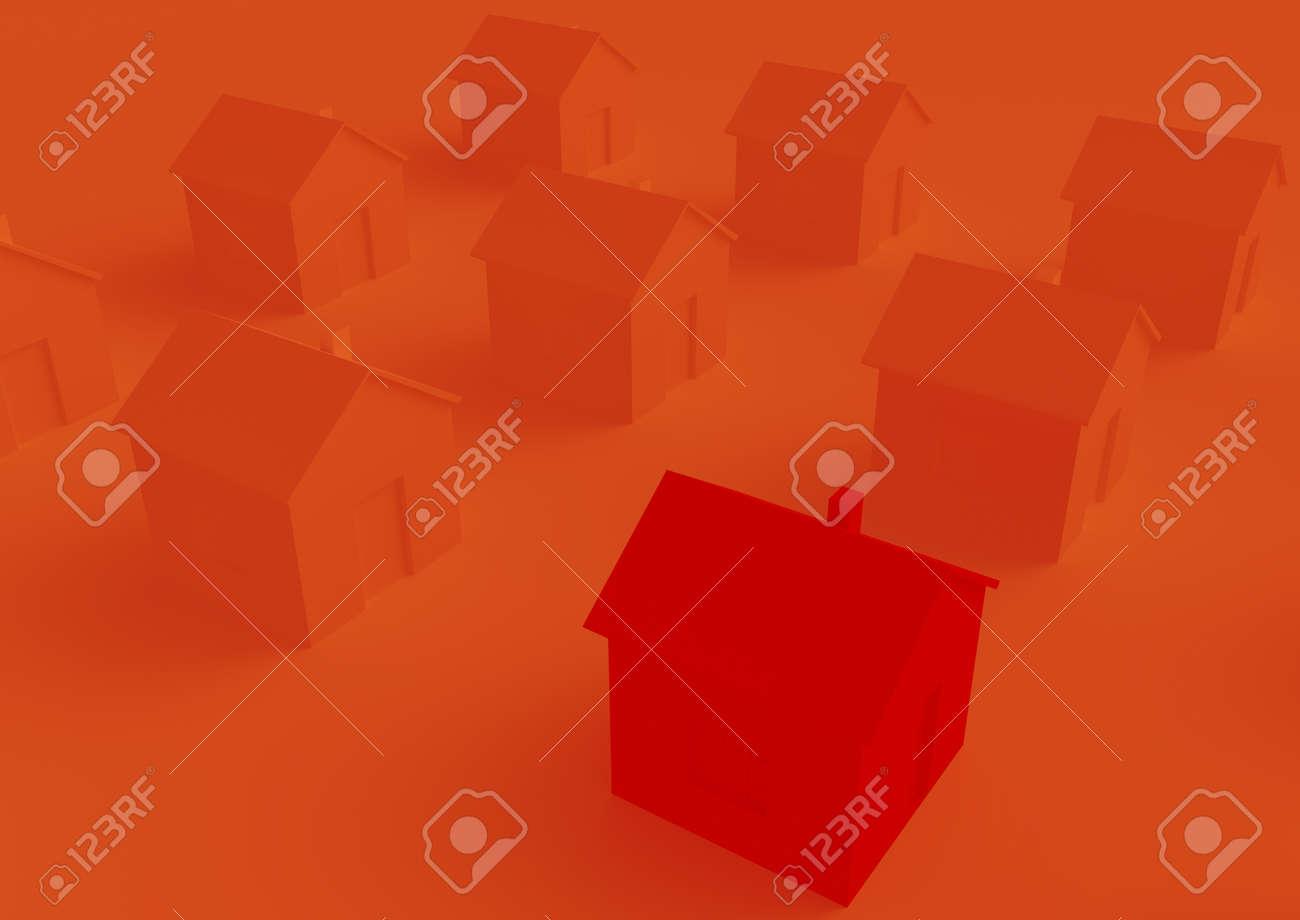 orange houses for real estate property industry, 3d illustration - 157639658