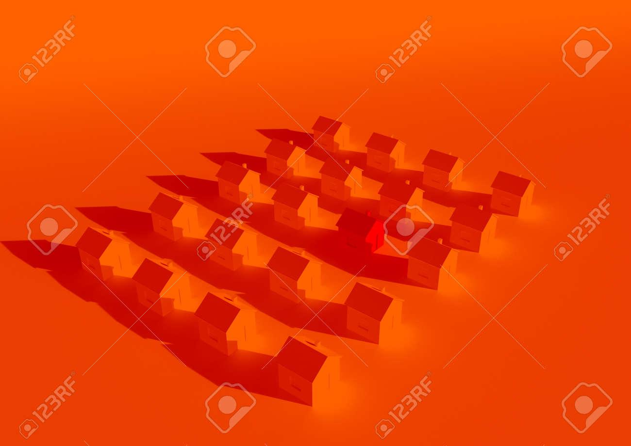 orange houses for real estate property industry, 3d illustration - 157639618
