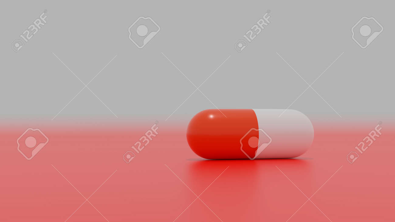 One capsule on red background - 157435941