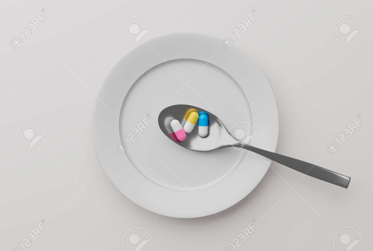 pills in a spoon, 3d illustration - 159103769