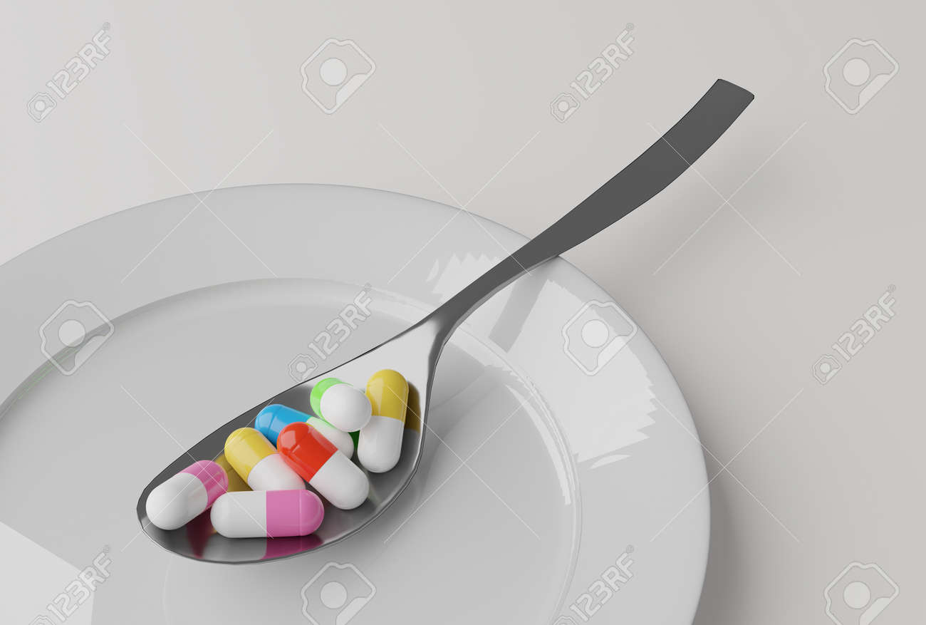 pills in a spoon, 3d illustration - 159103770